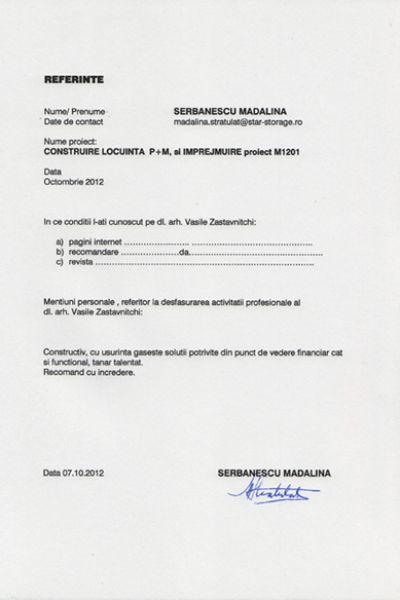 Recomandare Serbanescu Madalina